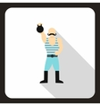 Strong man with kettlebell icon flat style vector image