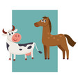 brown horse black and white cow with big eyes vector image