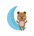 teddy bear seated in the moon vector image