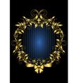 Gold vintage frame with blue stripes background vector image