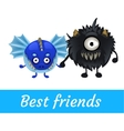Two funny monster isolated black and blue vector image