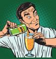 avatar portrait bartender pouring beer vector image