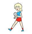 comic cartoon soccer girl vector image