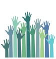 green - blue colorful up hands vector image
