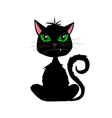 Halloween black cat with fang on white background vector image