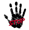 Hand print with stop sign vector image