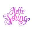 hello spring season text banner over white vector image