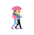 young couple walking under pink umbrella vector image