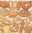 bakery hand drawn seamless pattern with bread vector image
