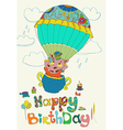 Happy birthday colorful background with funny vector image