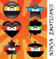 ninja emoticons vector image
