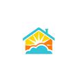 shine house sun paradise logo vector image