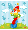 Clown blows bubbles vector image