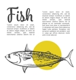 Fish with a yellow spot and lettering inscription vector image