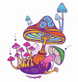 group of decorative mushrooms vector image