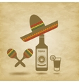 Mexico icons grunge background vector image