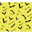 seamless pattern of bat on yellow black vector image