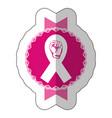 symbol hand breast cancer defense ribbon vector image