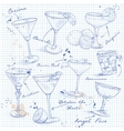 The Unforgettables Cocktail Set on a notebook page vector image