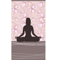 Yoga Card with Meditating Woman vector image