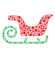Christmas santa sleigh icon made of circles vector image