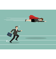 Business woman superhero fly pass his competitor vector image