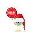 Cartoon Cute Robot elf with santa red hat vector image