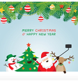 Christmas Santa Claus and Friends Selfie vector image
