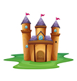 A castle with three flags vector image vector image