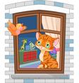 Cute kitten sitting on the window vector image vector image