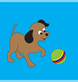 funny puppy with a ball vector image