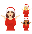 Surprised woman christmas vector image vector image