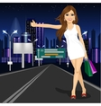 beautiful girl voting on night city road vector image