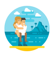 Flat design couple piggyback beach vector image
