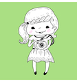 Little girl with camera vector image