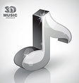 Metallic musical note icon isolated 3d music vector image