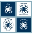 Nautical logo emblem with octopus vector image