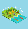 isometric outdoor recreation concept vector image