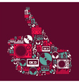 Dj Music icons in hand shape vector image