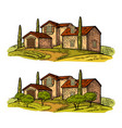 rural landscape with villa or farm with field vector image