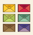 color mail icon set in flat design style vector image