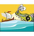 Greek Ship and Sea Monster vector image