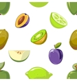 Green and blue fruits seamless pattern over white vector image