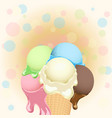 multicolor poster - large wafer ice cream cone on vector image
