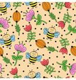 seamless background with bees and flowers vector image