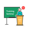 training seminar with linear spokesman vector image
