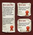 vintage medieval letters with wax seals vector image