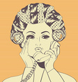 Woman with curlers in their hair talking at phone vector image