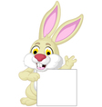 rabbit cartoon posing with blank sign vector image vector image