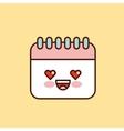 Calendar character kawaii style vector image